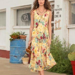 Sundance yellow ruffled floral silk dress